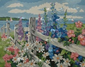White Fence Flower Garden Paint by Number