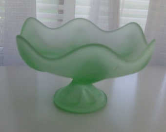 Frosted Green Lotus Footed Compote (Code p)