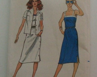 Butterick 3038 Size 14 Misses'  Dress and Jacket UNCUT