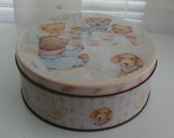1980s Cute Bear Tea Party Tin