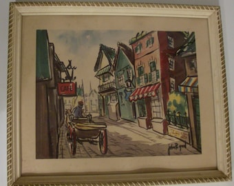 50s Framed Picture of a Old Country Street Scene