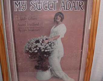 1915 My Sweet Adair Framed Sheet Music