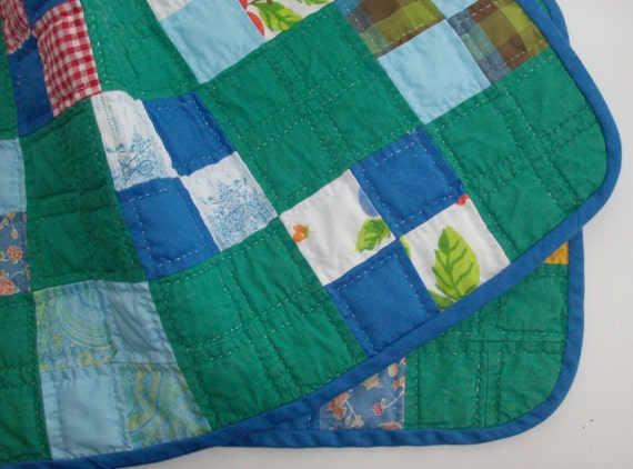 2 Green and Blue Patchwork Place Mats