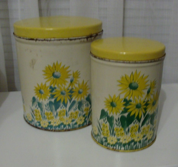 RESERVED Pair of 40s Yellow Tin Canisters