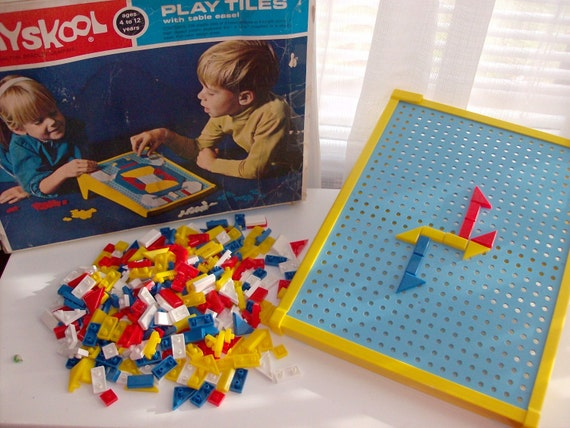 REDUCED 1970 Playskool Educational Play Tiles with Table Easel