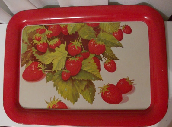 Tin Tray with Strawberries