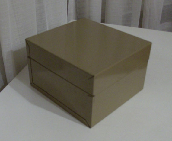 Office Taupe Double File Tin Box