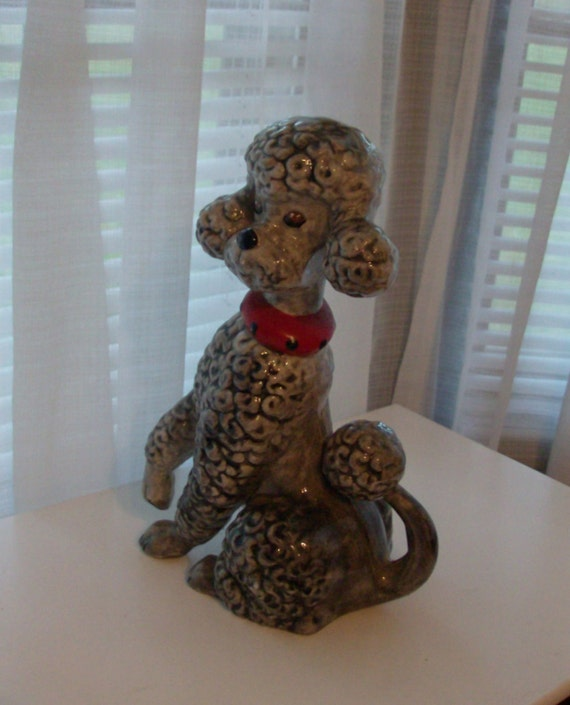 RESERVED FOR DEBBIE 1975 Large Cute Poodle Puppy Figurine