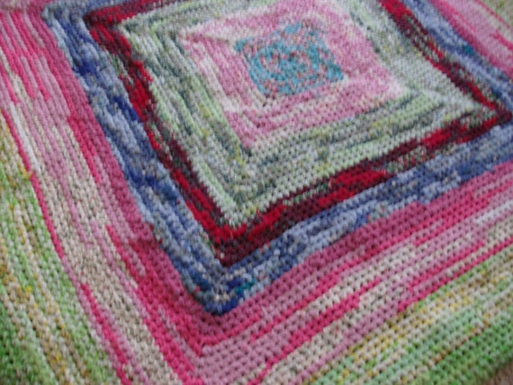 "Large Bold Square Area Rag Rug 60"" by 60"""