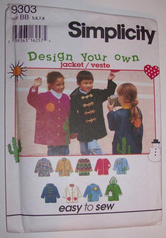 Simplicity 9303 Size 5, 6, 7, 8 Child's Jacket UNCUT