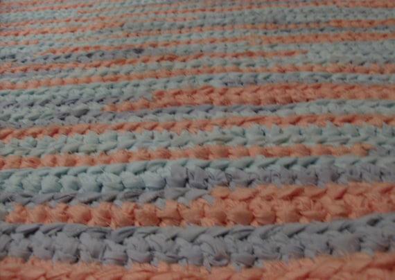 Peach, Aqua, and Blue Rag Rug