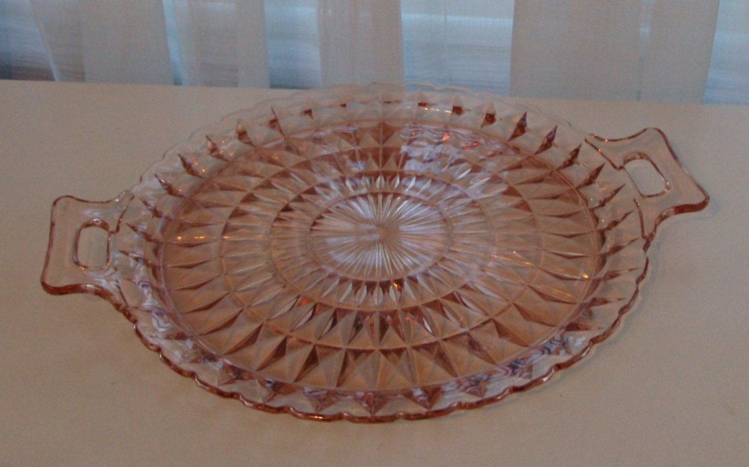 Pink Depression Glass Serving Plate By Fromlosttofound On Etsy