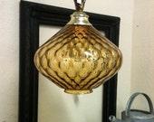 Mid Century Gold Glass Globe Swag Lamp