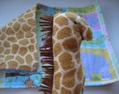 Girrafe plush rattle and Flannel burp cloth gift set