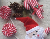 Christmas Tree Ornament Set of 4 (Santa Claus, Candy cane, lollipop)