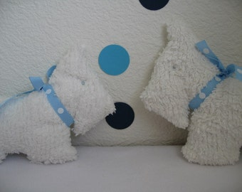 Doggy  rattle softie-White chenille with blue polka dot ribbon baby rattle -Daddy and me set (2)