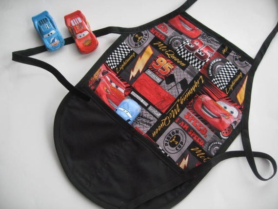 Toddler Boy Apron(Ages 1 to 3) for cooking , pretend play or as an art smock with Lighting McQueen/ Cars Fabric.