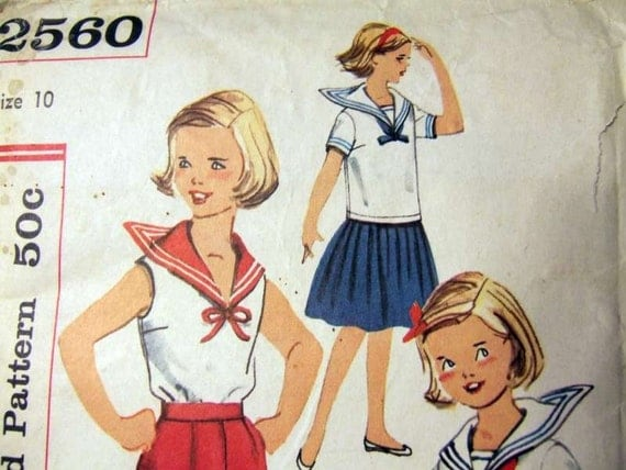 Vintage Sewing Pattern Girl S Middy Blouse Sailor
