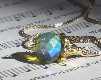 Peridot Green Aurora Borealis Crystal Necklace / Gold Chain