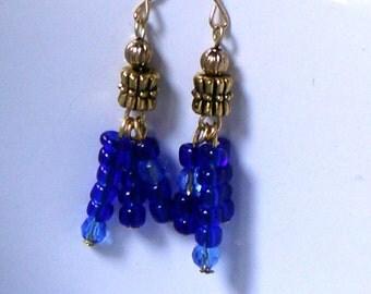 50% Off..Glass Tassel earrings, Blue