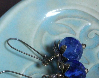 Blueberry Jasper and Brass earrings
