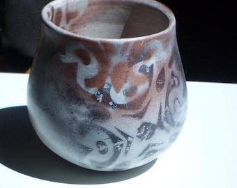 Ceramic Pot with Copper Flourish Designs