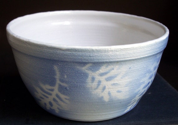 Winter Pond BOWL with leaves, Snowy white and blue
