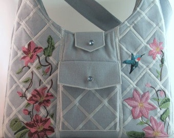 Handbag, Clematis, Trellis, Embroidered, MADE to ORDER
