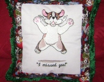 "Pillow, embroidered, quilted,  St. Bernard Puppy, ""missed you"", MADE TO ORDER"