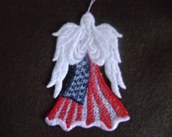 Angel Ornament, Patriotic Flag angel. red white & Blue, embroidered freestanding lace