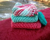 Cotton Dish Cloths with scrubby set of 4