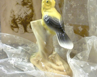 Royal Copley China Pin Holder Bud Vase Yellow Bird Goldfinch on Tree Stump