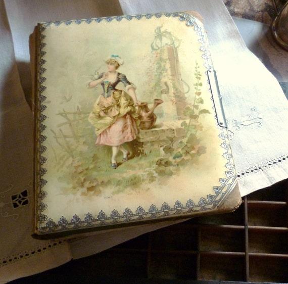 gentle maid and her doves antique photo album