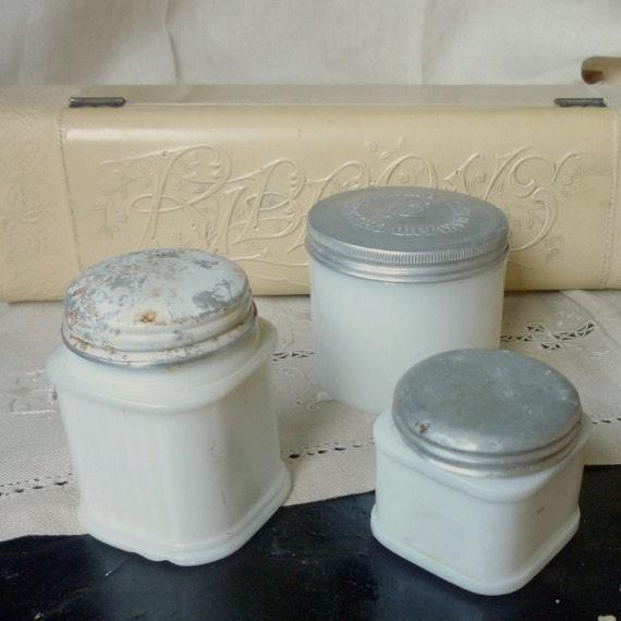 shabby storage milk glass jars