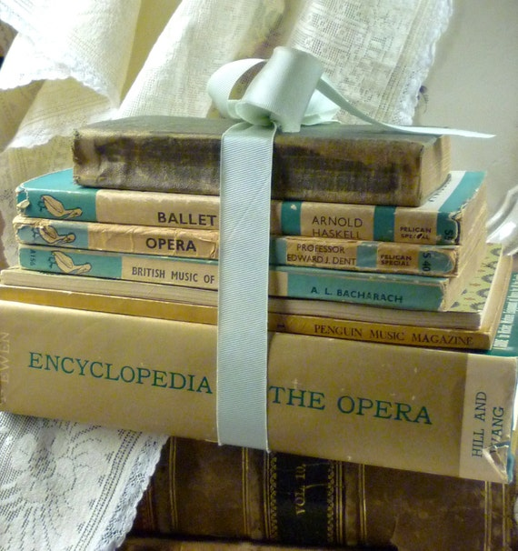 c1913 to 1955 tall stack of music, opera and ballet books  sg