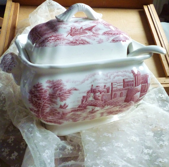 red castles transferware soup tureen