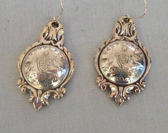 ANTIQUE AUSTRALIAN THREEPENNY EARINGS