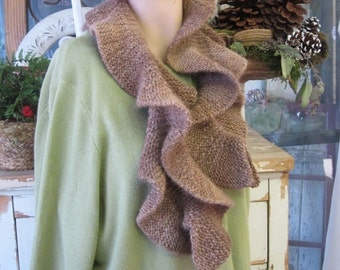 Ruffle Scarf - Hazelnut - Brown - Alpaca Merino Wool
