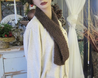 Winter Scarf - Mohair Chocolate Brown