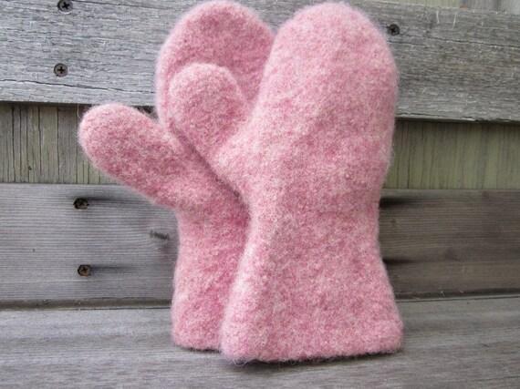 Felted Mitten - Children - Rose Pink