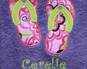 Embroidered Monogramed Flip Flop Towel for beach or bath