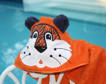 Hooded Tiger Aubie Auburn Towel for beach bath or play