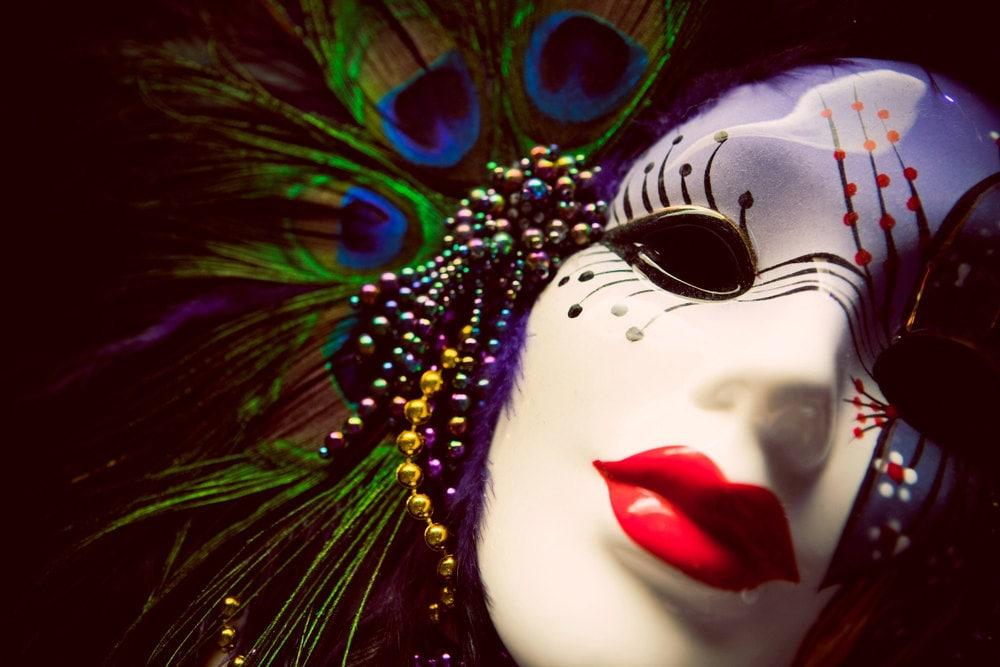 Mardi Gras Art Venetian Mask Peacock Feathers Mardi Gras