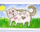 Cat  Original Illustration Watercolor  Painting Whimsical Miniature