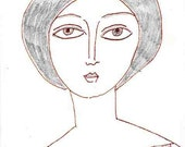 Alya Original Drawing Brown ink and pencil Free Shipping