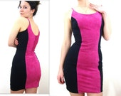 80s Suede Hot Pink Mini Dress S