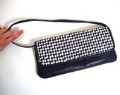 Leather clutch large navy white check