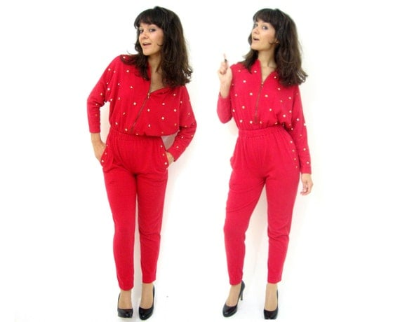Amazing Blanche Devereaux gold studded sweatsuit jumpsuit red  XS
