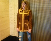 1970s Hippie Girl Suede and Leather Coat / Jacket brown & tan