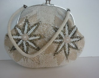 VTG 1930s Beaded Handbag Evening White & Silver with Starflowers